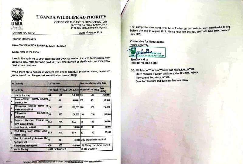 Uganda Wildlife Authority communication about the new tariffs