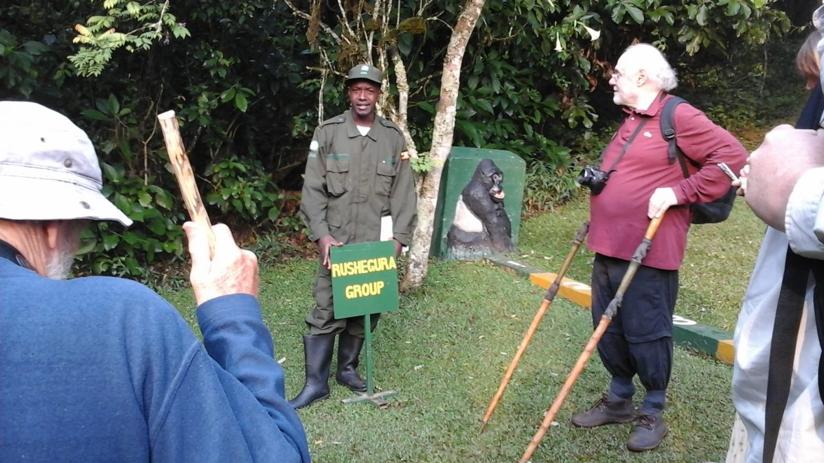 Visitors are briefed about the gorilla tracking rules and regulations