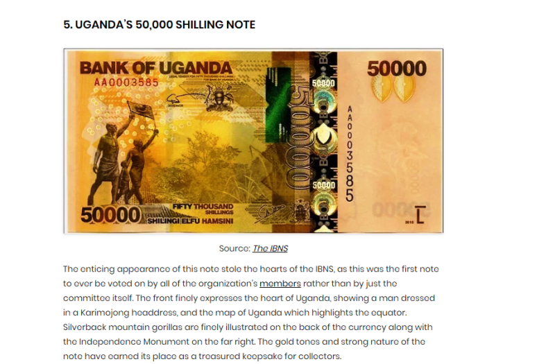 Uganda's most beautiful bank note